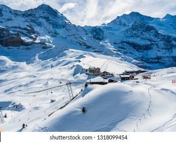 Mountain station behind the Eiger north face, small Scheidegg, Eiger, Interlaken Oberhasli, Bernese Oberland, Canton Bern, Switzerland