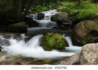 Mountain stream in autumn morning
