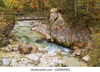 Mountain stream in Bavaria, Germany. Zauberwald (Magic Forest) with  Ramsauer Ache in Ramsau bei Berchtesgaden.