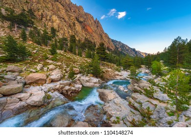Mountain Stream in Central Corsica France around sunset