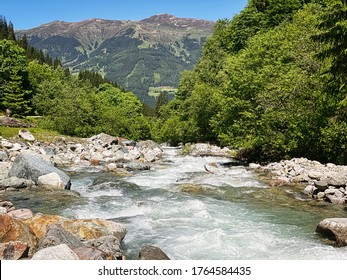 Mountain Stream European Alps, beautiful landscape of river Habach in Habachtal in Salzburger Land