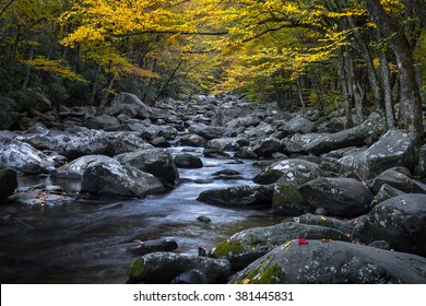 Mountain stream with fall colors in the Great Smoky Mountains