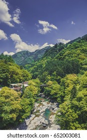Mountain stream and landscape Japan Asia