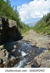 Mountain stream on the Putorana plateau. Landscape with a stream in a mountain gorge in Northern Siberia.