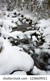 Mountain stream in snowy forest in freezing cold winter weather in the Austrian Alps.