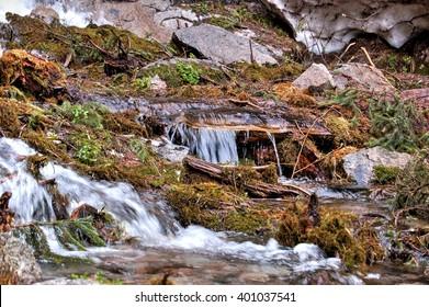 Mountain stream, mountain stream. Zailiyskiy Alatau. The Republic Of Kazakhstan.