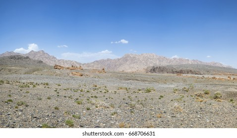 Mountain and Subash Buddhist Temple ruins, Kucha, Aksu Prefecture, Xinjiang Uyghur Autonomous Region, China