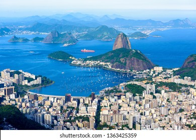 The mountain Sugarloaf and Botafogo in Rio de Janeiro, Brazil. Sugarloaf is one of the main landmark of Rio de Janeiro. Skyline of Rio de Janeiro