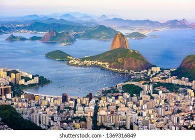 The mountain Sugarloaf and Botafogo in Rio de Janeiro, Brazil. One of the main landmark of Rio de Janeiro. Sunset skyline of Rio de Janeiro