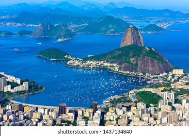 The mountain Sugarloaf and Botafogo in Rio de Janeiro, Brazil. One of the main landmark of Rio de Janeiro. Skyline of Rio de Janeiro