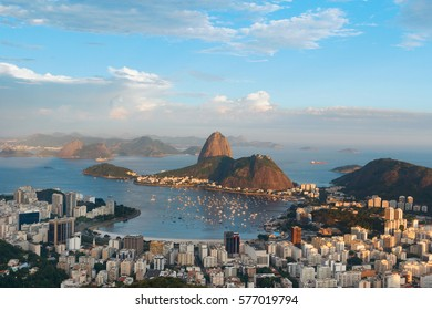 Mountain Sugarloaf and Guanabara bay from viewpoint dona Marta,  before sunset, Rio de Janeiro, Brazil. Selective focus