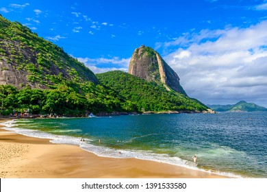 Mountain Sugarloaf and Red beach in Rio de Janeiro, Brazil. Sugarloaf is one of the main landmark of Rio de Janeiro. Cityscape of Rio de Jane