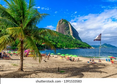 Mountain Sugarloaf and Red beach in Rio de Janeiro, Brazil. Sugarloaf is one of the main landmark of Rio de Janeiro. Cityscape of Rio de Janeiro