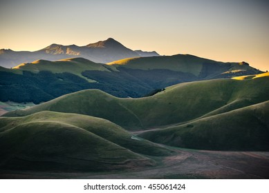 Mountain summer in Umbria landscape, Italy. Castelluccio di Norcia