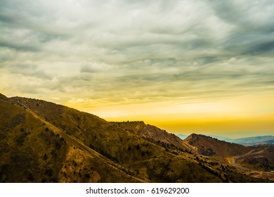 Mountain  at sunrise. Mountains with evening sunset light with dramatic light. nature background.