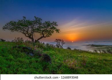 mountain sunrise in salalah oman
