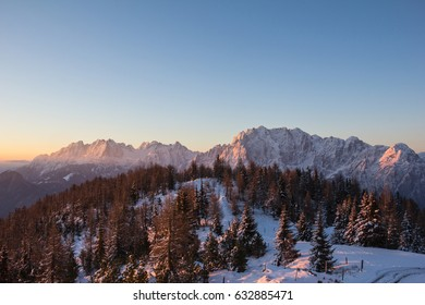 Mountain Sunrise View From Hochsteinhuette 2.023m With View To Lienz Dolomites In Winter