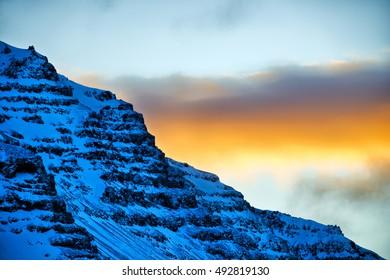 Mountain sunset, Hofn, Iceland