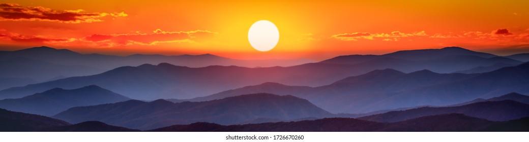 Mountain Sunset Panorama - The Great Smoky Mountains National Park