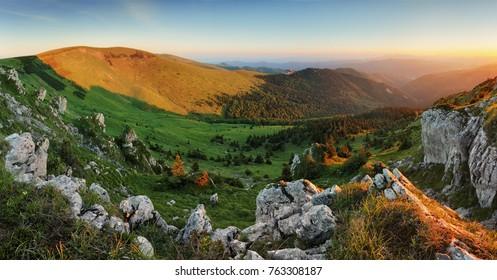 Mountain sunset panorama landcape in Slovakia, Suchy peak