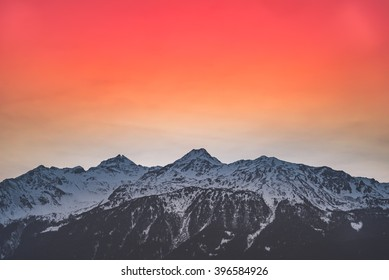 Mountain sunset with red sky