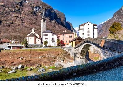 Mountain, Switzerland, Bridge - Built Structure, European Alps, Maggia Valley