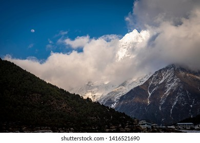 The mountain Thamserku in the clouds, Khumbu valley, Sagarmatha national park, Neapl
