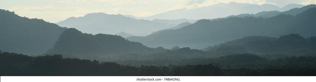 Mountain Tops in Luang Prabang, Laos, Viewed During Sunset