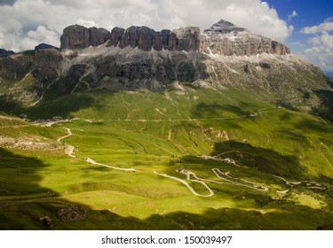 Mountain Tops and Meadows in Summer, Pordoi Pass, Sella Group, Arabba, Dolomites, Alps, Italy
