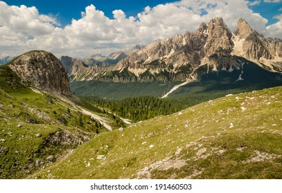 Mountain Tops in Summer, Cristallo Group from Faloria (Monte Cristallo, Cima di Mezzo, Piz Popena ), Dolomites, Alps, Italy