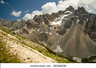 Mountain Tops in Summer, Punta Nera and Croda Rotta (Rock Debris, Talus), Dolomites, Alps, Italy