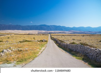 Mountain track in Beautiful scenery Pag Island, Croatia, Europe