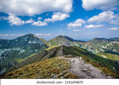 Mountain trail to Baraniec, one of the highest peaks of the West Tatras, Slovakia. Slovakian Tatra mountains beautiful scenery on the way to the mountain hut.