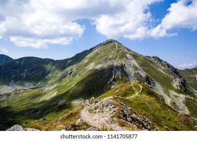 Mountain trail to Baraniec, one of the highest peaks of the Western Tatras, Slovakia. Slovakian Tatra mountains beautiful scenery on the way to the mountain hut.