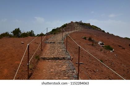 Mountain trail between Pico Ruivo and Pico Arieiro on Madeira Island