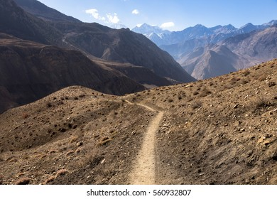 mountain trail in the Himalayas, Mustang, Nepal