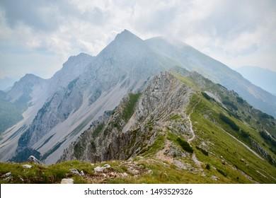 Mountain trail in Karawanks mountains, leading from Potoski Stol to Veliki Stol - Shutterstock ID 1493529326