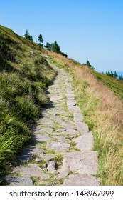 Mountain trail in from Karkonosze Mountains i late summer, Poland.