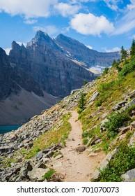 Mountain trail at Lake Agnes, Alberta, Canada