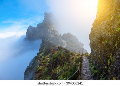 mountain trail in Madeira above the clouds on a sunny bright afternoon with copy space