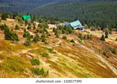 Mountain trail to Shelter Under the Labski Mountains, Poland.