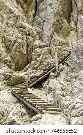 Mountain trail. Via Ferrata in the Dolomites, Italy.