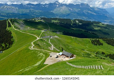 Mountain trails at Mont Joly in the hiking area of Saint-Gervais-les-Bains, Savoie, France