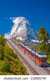 Mountain train in front of Matterhorn peak