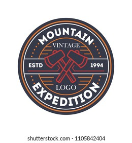 Mountain travel expedition vintage isolated badge. Outdoor explorer sign, touristic camping label, nature hiking illustration
