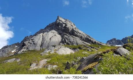 Mountain of Vagakallen close to Henningsver in Lofoten / Norway