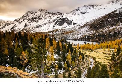 Mountain valley autumn snow landscape. Mountain valley snow landscape. Autumn mountain valley snow landscape. Mountain snow valley landscape - Shutterstock ID 1919276222