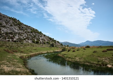 Mountain valley. beautiful plateau surrounded by mountains. Lassithi Plateau - Shutterstock ID 1401310121