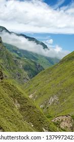 Mountain valley below the Devil's Nose Railroad near Alausi, Ecuador