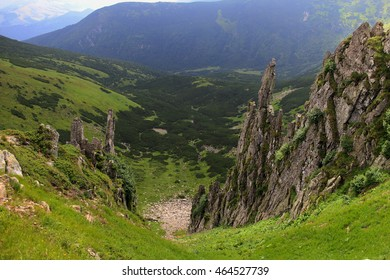 Mountain valley in the Carpathians. Spitz